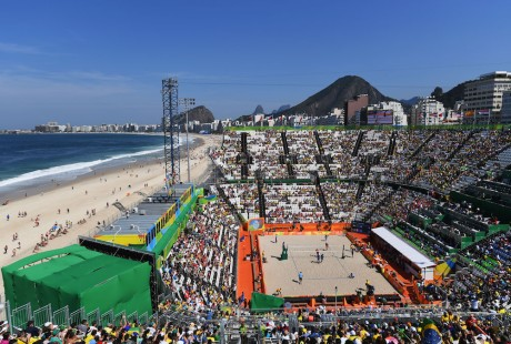 RIO DE JANEIRO, BRAZIL - AUGUST 06: A general view of Copacabana Beach and the surrounding area on Day 1 of the Rio 2016 Olympic Games at the Beach Volleyball Arena on August 6, 2016 in Rio de Janeiro, Brazil. (Photo by Shaun Botterill/Getty Images)